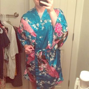 Peacock Floral Robe
